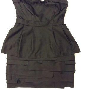 BCBG MAX AZRIA PEPLUM MULTILAYERED  BLACK dress